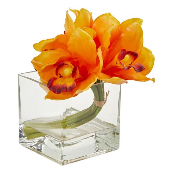 Cymbidium Orchid Artificial Arrangement in Glass Vase Set of 2 - SKU #1824-S2 - 3