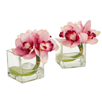 Cymbidium Orchid Artificial Arrangement in Glass Vase Set of 2 - SKU #1824-S2