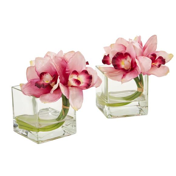 Cymbidium Orchid Artificial Arrangement in Glass Vase Set of 2 - SKU #1824-S2