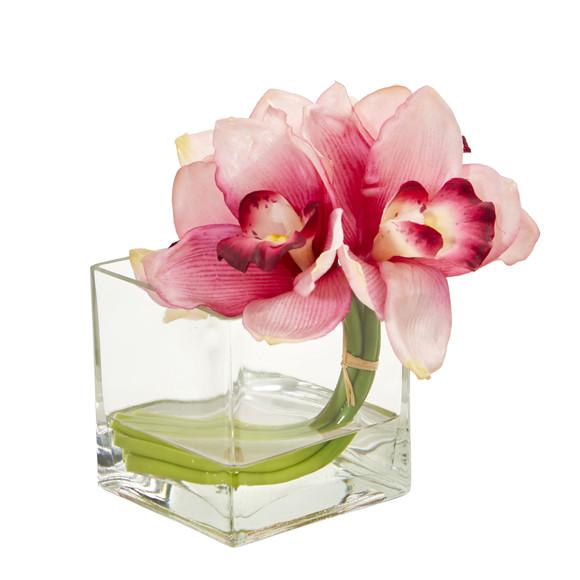 Cymbidium Orchid Artificial Arrangement in Glass Vase Set of 2 - SKU #1824-S2 - 1