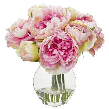 Peony Artificial Arrangement in Vase - SKU #1825