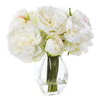 Peony Artificial Arrangement in Vase - SKU #1825-WH