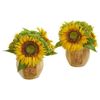 Sunflower Artificial Arrangement in Decorative Planter Set of 2 - SKU #1826-S2