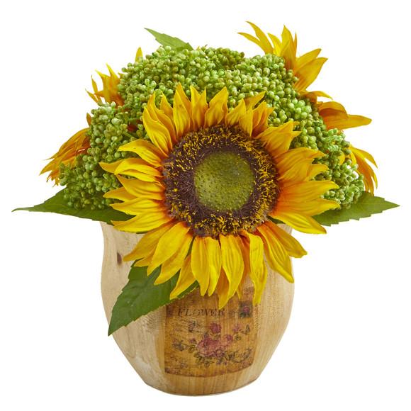 Sunflower Artificial Arrangement in Decorative Planter Set of 2 - SKU #1826-S2 - 1