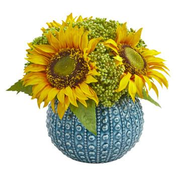 Sunflower Artificial Arrangement in Blue Vase - SKU #1827