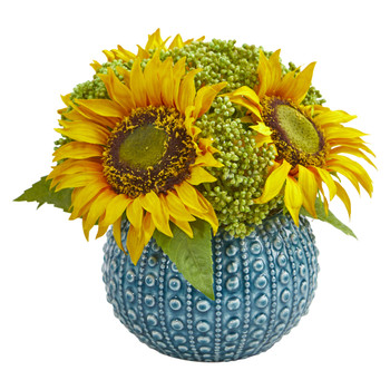 Sunflower Artificial Arrangement in Blue Vase - SKU #1827