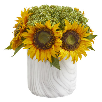 Sunflower Artificial Arrangement in Marble Finished Vase - SKU #1828