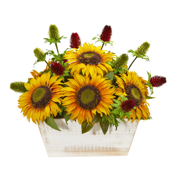 Sunflower and Thistle Artificial Arrangement in White Wash Planter - SKU #1829