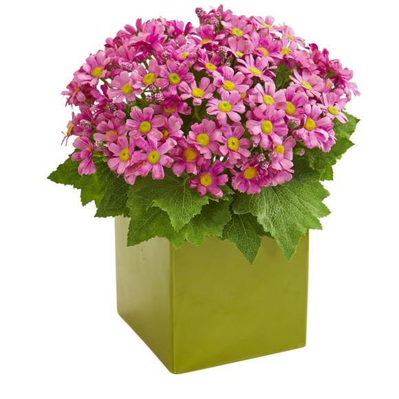 Daisy Artificial Arrangement in Green Vase - SKU #1830 - 1