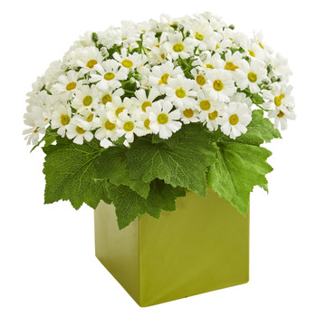 Daisy Artificial Arrangement in Green Vase - SKU #1830