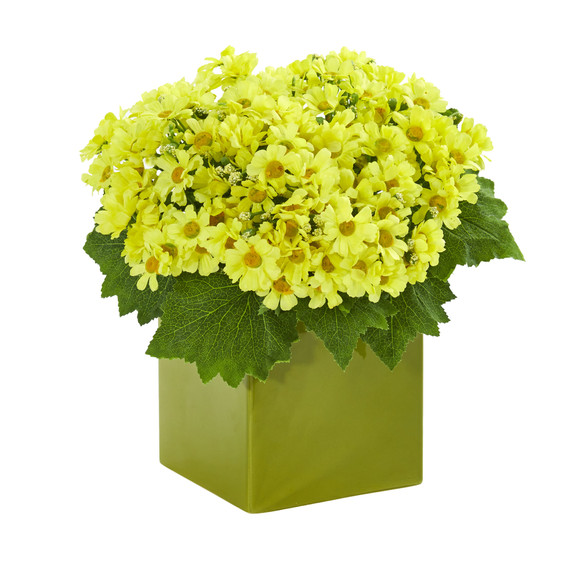 Daisy Artificial Arrangement in Green Vase - SKU #1830 - 1