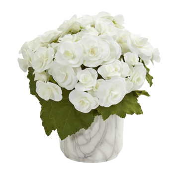 Begonia Artificial Arrangement in Vase - SKU #1832-WH