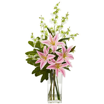 Lily and Dancing Lady Orchid Artificial Arrangement - SKU #1833