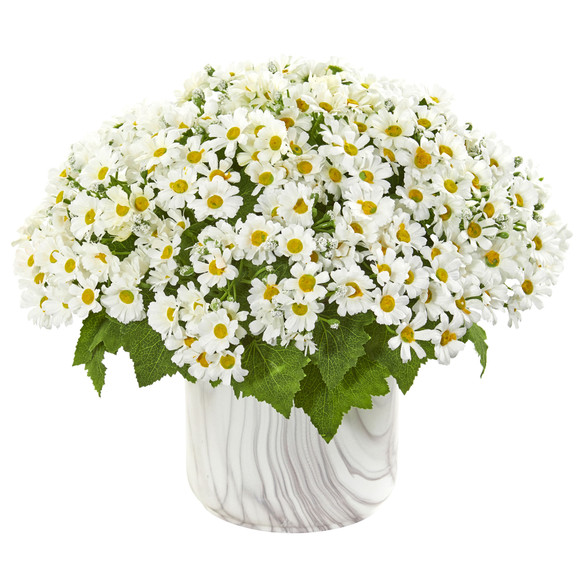 Daisy Artificial Arrangement in Marble Finished Vase - SKU #1834
