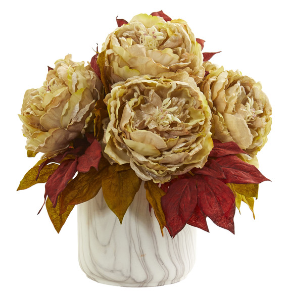 Peony Artificial Arrangement in Marble Finished Vase - SKU #1835 - 2