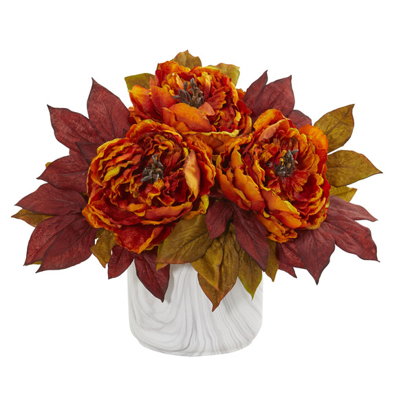 Peony Artificial Arrangement in Marble Finished Vase - SKU #1835 - 3
