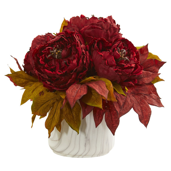 Peony Artificial Arrangement in Marble Finished Vase - SKU #1835