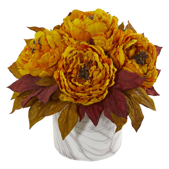 Peony Artificial Arrangement in Marble Finished Vase - SKU #1835 - 1