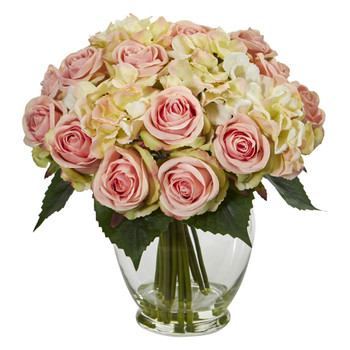 Rose and Hydrangea Bouquet Artificial Arrangement - SKU #1837