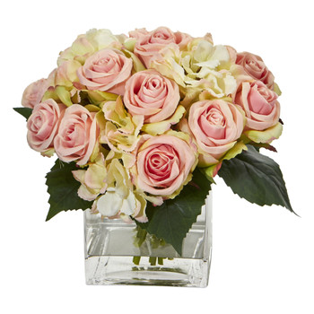 Rose and Hydrangea Bouquet Artificial Arrangement in Vase - SKU #1838