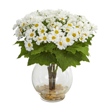 Daisy Artificial Arrangement in Fluted Vase - SKU #1839