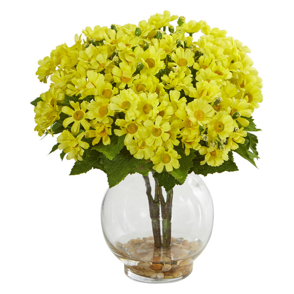 Daisy Artificial Arrangement in Fluted Vase - SKU #1839 - 1