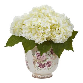 Giant Hydrangea Artificial Arrangement in Floral Printed Vase - SKU #1841