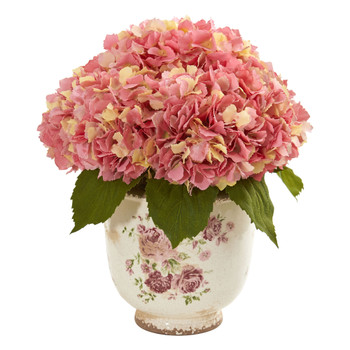 Giant Hydrangea Artificial Arrangement in Floral Printed Vase - SKU #1841