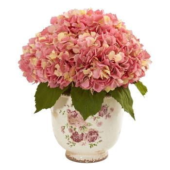Giant Hydrangea Artificial Arrangement in Floral Printed Vase - SKU #1841-PK