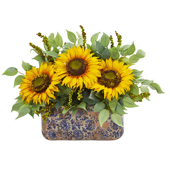 Sunflower and Mixed Greens Artificial Arrangement in Vase - SKU #1842