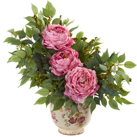 Peony and Mixed Greens Artificial Arrangement in Vase - SKU #1843-PK