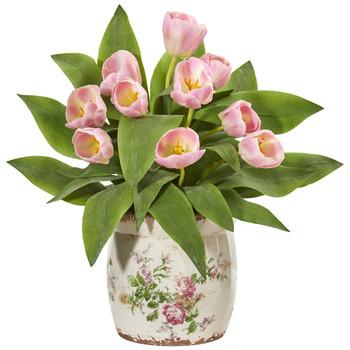 Tulip Artificial Arrangement in Floral Design Vase - SKU #1844-PK