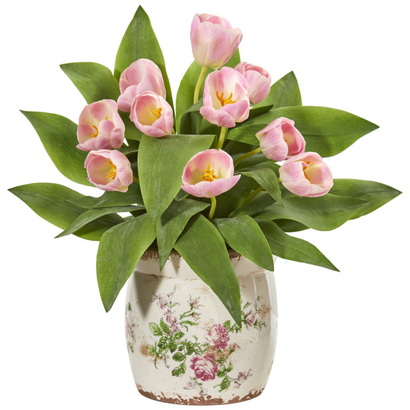 Tulip Artificial Arrangement in Floral Design Vase - SKU #1844-PK