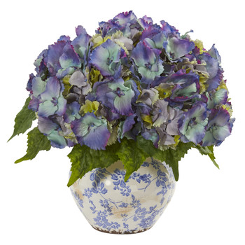 Hydrangea Artificial Arrangement in Floral Design Vase - SKU #1845-BL