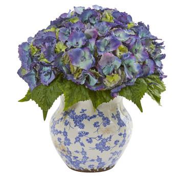 Hydrangea Artificial Arrangement in Large Floral Vase - SKU #1846-BL