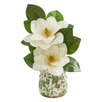 Magnolia Artificial Arrangement in Floral Design Vase - SKU #1847