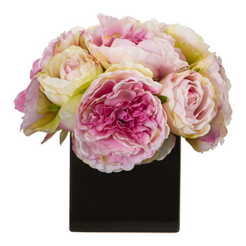 Peony Artificial Arrangement in Black Vase - SKU #1848