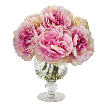 Peony Artificial Arrangement in Royal Glass Urn - SKU #1849