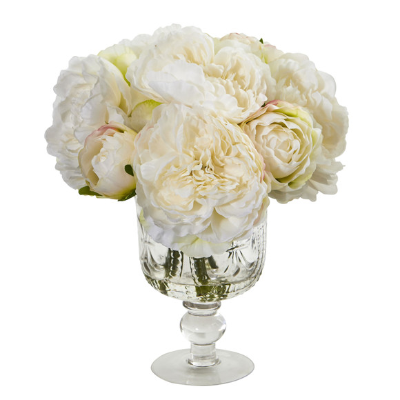 Peony Artificial Arrangement in Royal Glass Urn - SKU #1849 - 1