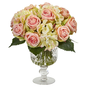 Rose and Hydrangea Artificial Arrangement in Royal Glass Urn - SKU #1850