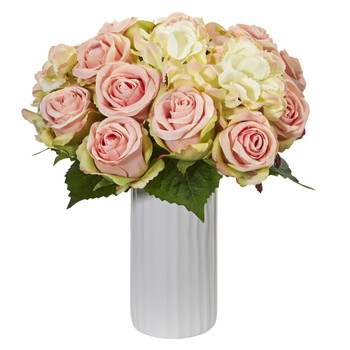 Rose and Hydrangea Artificial Arrangement in White Vase - SKU #1851