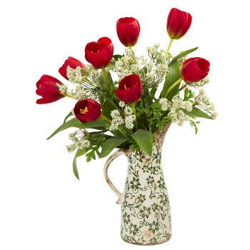 Tulips and Italian Chrysanthemum Artificial Arrangement in Pitcher Vase - SKU #1852-RD