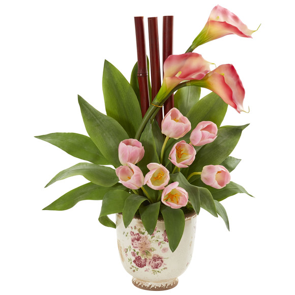 Tulips and Calla Lilly Artificial Arrangement in Floral Vase - SKU #1854-PK
