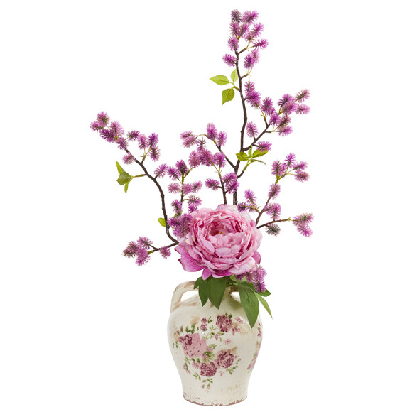 25 Peony and Thistle Artificial Arrangement in Flower Print Jar - SKU #1855-PK