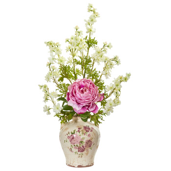 Peony and Dancing Daisy Artificial Arrangement - SKU #1856-PK
