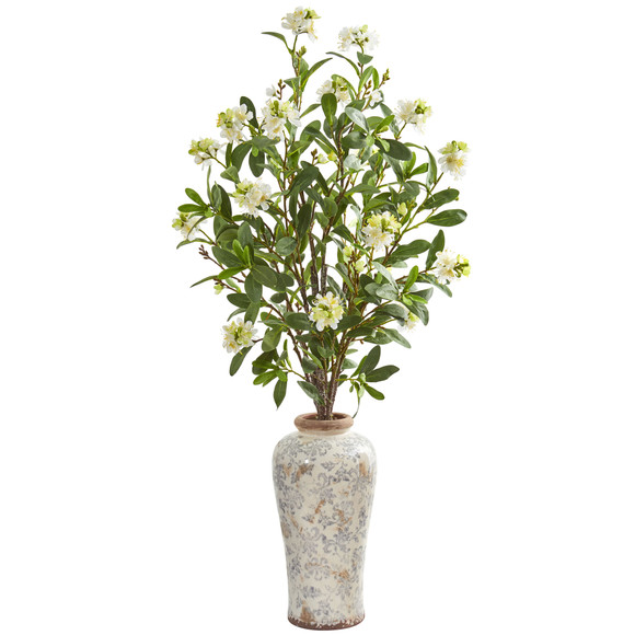 Peach Blossom Artificial Arrangement in Floral Printed Urn - SKU #1858