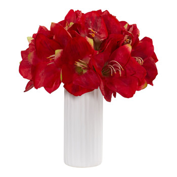 Amaryllis Artificial Arrangement in White Vase - SKU #1860