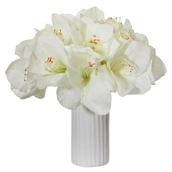 Amaryllis Artificial Arrangement in White Vase - SKU #1860 - 1