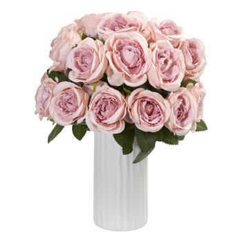 Rose Artificial Arrangement in White Vase - SKU #1861