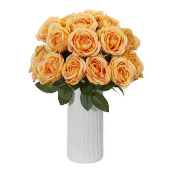 Rose Artificial Arrangement in White Vase - SKU #1861-YL